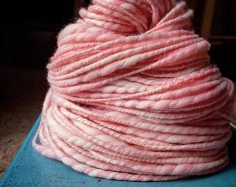 Handspun Romney Yarn in *Under the Pink* (106 yards)