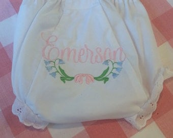 Heirloom Embroidered Name Monogrammed Bluebell Floral Bloomers Diaper Cover Panty Baby Child