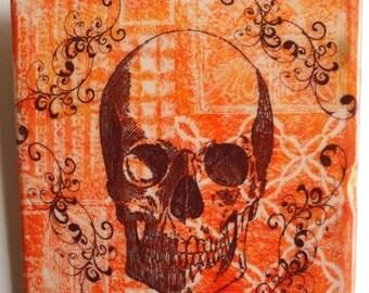 "ON SALE NOW Colorful Skull   6""x6"" ceramic tile."