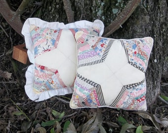 Set Vintage Quilt Pillows Ruffled PillowsDecorative Pillows Rustic Farmhouse French Country Prairie Cottage Chic Shabby Primitive Pillows