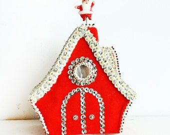Vintage Musical Christmas House - Rotates - Santa on the roof - Sequins and Red Felt - plays White Christmas
