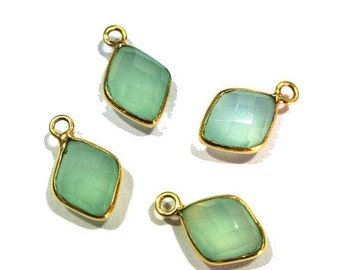 55% OFF SALE 22k Gold Vermeil AAA Aqua Chalcedony Faceted Fancy Shaped Bezels Size 19x11mm Approx , 2Pcs 1 Match Pair