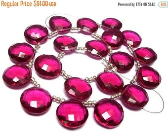 55% OFF SALE Wholesale - Super Finest AAA Rubelite Hot Pink Quartz Faceted Coin Shaped Briolettes Size 14x14mm approx, 8 Inches Strand