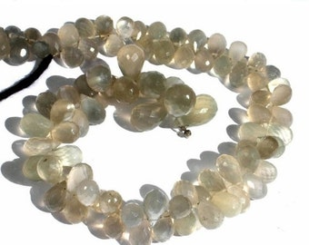 55% OFF SALE Get 25 Percent Off - Full 8 Inches Finest Quality Natural Gray Moonstone Micro Faceted Drop Briolettes Size 10x6 - 8x5mm approx