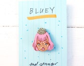 Bluey (succulent skull) - handpainted cherry wood pin - 3cm