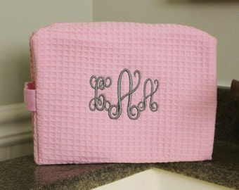 Large Waffle Weave Cosmetic Bag with Name or 3-letter Monogram
