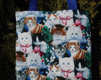 Kitty Cat Collage Tote Bag flowers baskets Handmade Purse