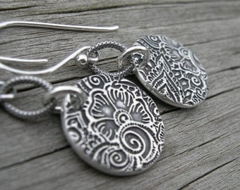 Sterling Silver Laasya Coin Earrings PMC