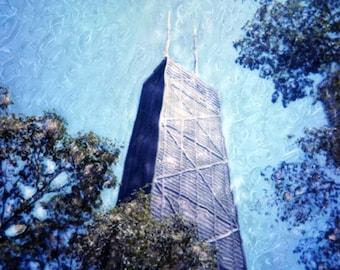 John Hancock Building- Polaroid SX-70 Manipulation - 8x8 Fine Art Photograph, Wall Decor