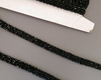 Black Beaded Trim by the 1/2 yard, Black Beaded Trim 3/8 inch wide