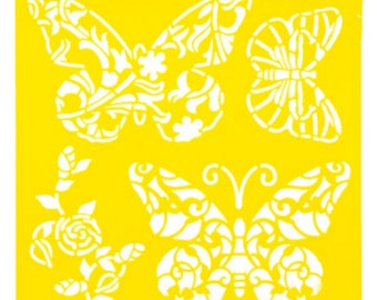 Self Adhesive Stencil - Butterflies - 6 x 6 inches fnt