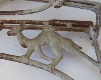 Pair Antique Cast Iron Drapery Brackets Art Deco Camels Vintage Paris Apartment