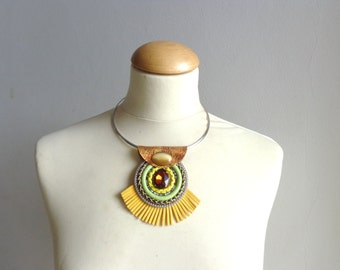 Yellow necklace tribal necklace modern tribal