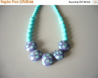 Turquoise polka dot necklace