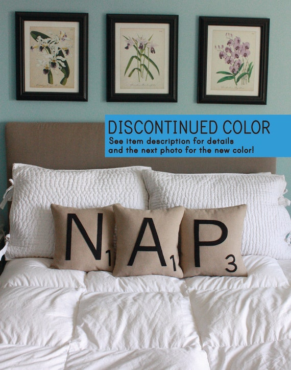 NAP Scrabble Pillows - Inserts Included // Scrabble Tile Pillows // Letter Pillow Cushions