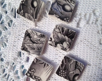 Black and White Broken China Magnets - set of six