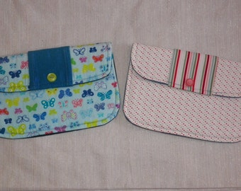 Bridal Clutch Soft Fabric Purse Pastel Pin Dots and Stripes on White or Blue Butterflies Your Choice of One