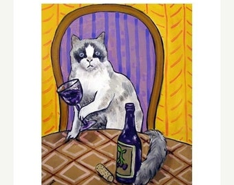 ON SALE Rag Doll Cat at the Wine Bar Picture Art Print