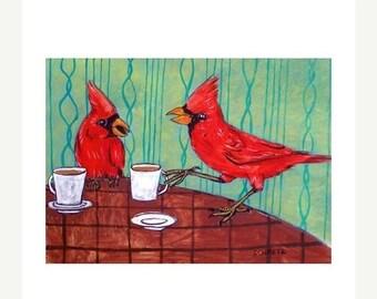 Cardinals at the Coffee Shop Bird Art Print