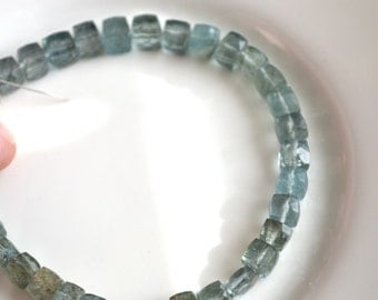 Moss Aquamarine 5mm Gemstone Cube Beads  6