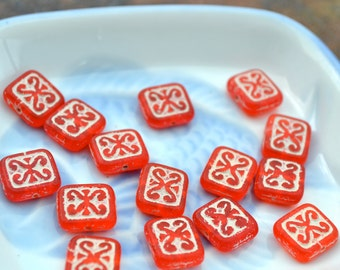 Red and Ivory Ornamental Rectangle Beads  6