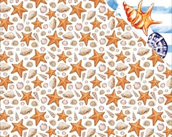 Seashells Seaside Double Sided Cardstock Reminisce