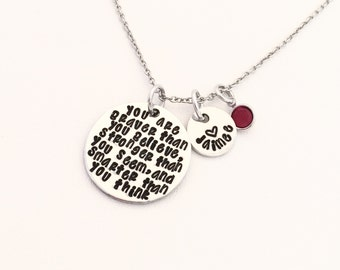 Hand Stamped Jewelry, Personalized Silver Necklace, You are braver than you believe, Stronger than you seem and smarter than you think