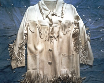 Vintage White Western Fringed Ranch Jacket