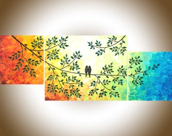 """Colourful art love birds painting set of 3 Painting painting on canvas Acrylic painting """"The Sun Shines on Us"""" by qiqigallery"""