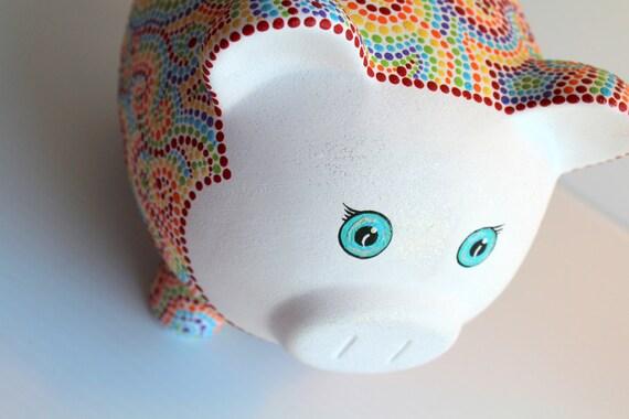 Rainbow piggy bank hand painted rainbow piggy bank hand for How to paint a ceramic piggy bank