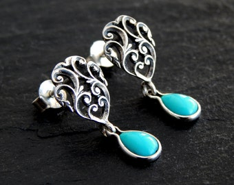 Sterling and Turquoise Earrings: Sterling silver filigree earrings, natural turquoise drops, openwork scroll posts, sterling post earrings