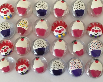 Cupcakes and clowns birthday party favors hand painted glass gems