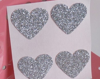 SUMMER SALE Silver heart glitter sticker envelope seals - luxe thick glitter card