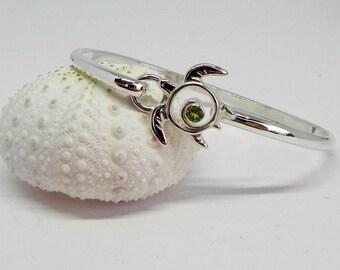 Peridot Sea Turtle Bracelet - Sterling Silver Gemstone Bangle - Silver Hook Bracelet - August Birthstone - Unique Turtle Jewelry Sea Life