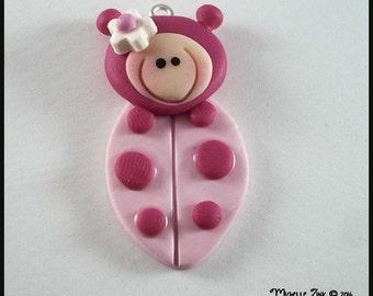 Pink Ladybug Charm Pendant Polymer Clay Focal Bead