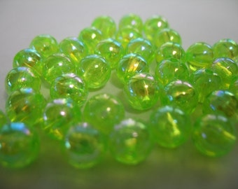 Chartreuse Lime Green Iridescent Plastic Beads
