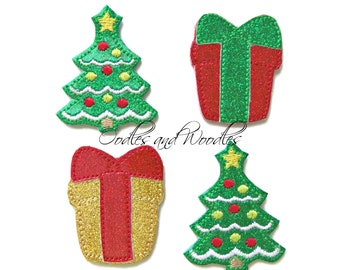 Christmas Tree And Packages Vinyl Appliques, Red And Green Gift Vinyl Appliques, Christmas Tree Vinyl Appliques, Christmas Felties,