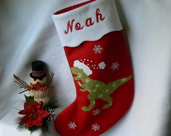 Dinosaur Christmas Stocking|Personalized Christmas Stocking|T Rex Christmas Stocking Red FeltStocking|Kids Christmas Stocking|Home Decor|