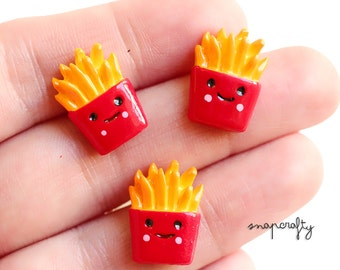 6pc cute happy french fries cabs / fast food fry cabochons / happy meal, flat back resin cabs, mini doll house food, cell phone deco supply