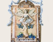 Fairy Collage Art Assemblage,  Forget Me Not Fairy, Mixed Media Art Collage, Fairy Child with Wings, Pale Blue