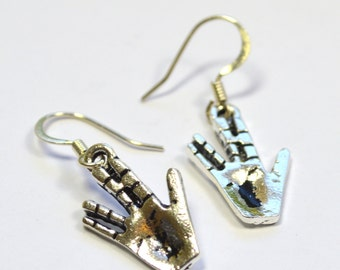 Star Trek Spock Salute Scifi Dangle Earrings