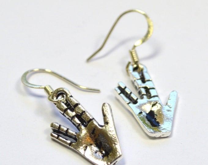 Star Trek Spock Salute Scifi Dangle Earrings