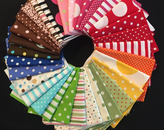 SALE 36-pc. Fat Quarter SET Dots & Stripes #46 Robert Kaufman Pimatex Cotton Quilt Dress Fabric - 9 Yards total, Assorted Colors as Shown