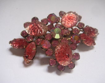 Unsigned JUDY LEE  Rhinestone Brooch in Pink Carved Ovals and Navettes So Gorgeous
