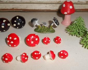 Vintage Miniature Mushroom Collection, Vintage Miniature Toad Stools