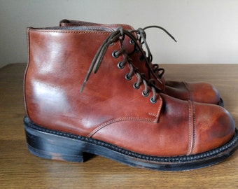 Gorgeous Cognac Colored Leather Lace Up Ankle Boots 8