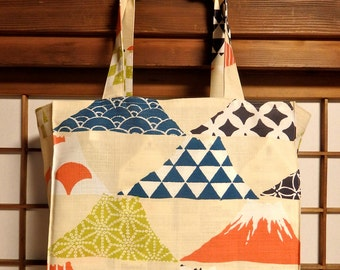 Japanese Tote Bag with Funky Fuji's TIGHT 'N' TIDY Tote Bag, Reusable Folding Shopping Bag, Mt. Fuji, Graphic Mountain, Beige Navy Orange