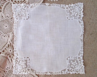 Vintage Handkerchief White Linen Lace Hankie Bridal Hanky
