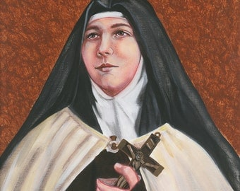 "Saint Teresa of Los Andes, O.C.D. Virgin, Nun, Carmelite, 8""x10"" & 11"" X 14"" Prints on White Card Stock of Original painting, Catholic Art,"