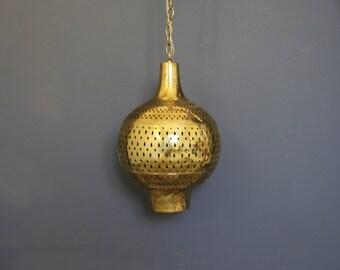 Large Pierced Brass Moroccan Hanging Chandelier